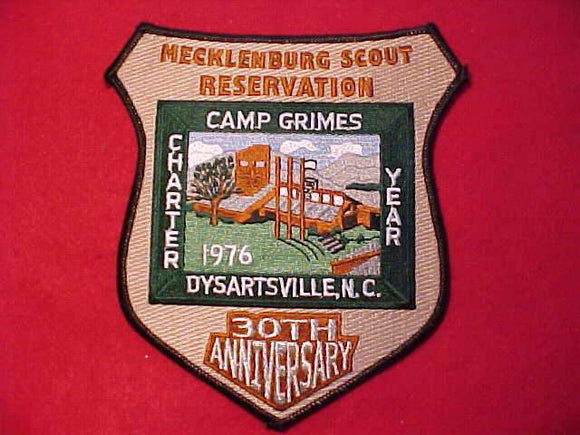 GRIMES JACKET PATCH, 1976-2006, CHARTER YEAR, 30TH ANNIV., BLACK BDR.