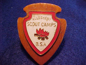 ALLEGHENY TRAILS SCOUT CAMPS N/C SLIDE, WOOD W/ METAL EMBLEM