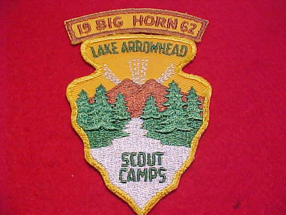 LAKE ARROWHEAD SCOUT CAMPS PATCH W/ BIG HORN SEGMENT, 1962