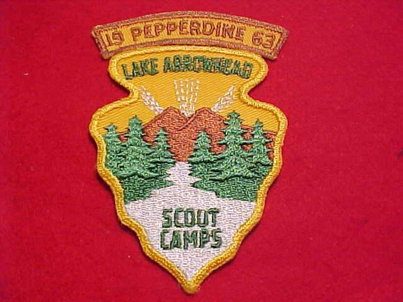 LAKE ARROWHEAD SCOUT CAMPS PATCH W/ PEPPERDINE SEGMENT, 1963