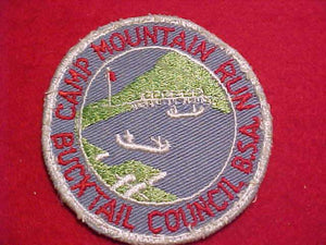 MOUNTAIN RUN PATCH, 1950'S, BUCKTAIL C., WHITE BDR., USED
