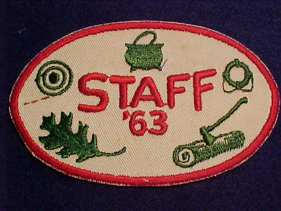 CAMP STAFF PATCH, 1963, USED
