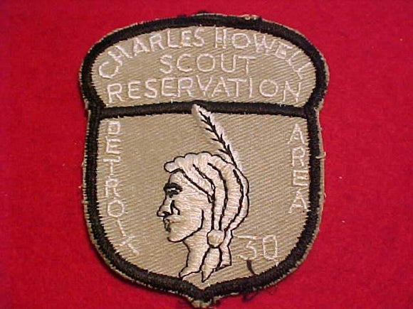 CHARLES HOWELL SCOUT RESV. PATCH, 30 YEAR ANNIV., (1956), DETROIT AREA C., USED