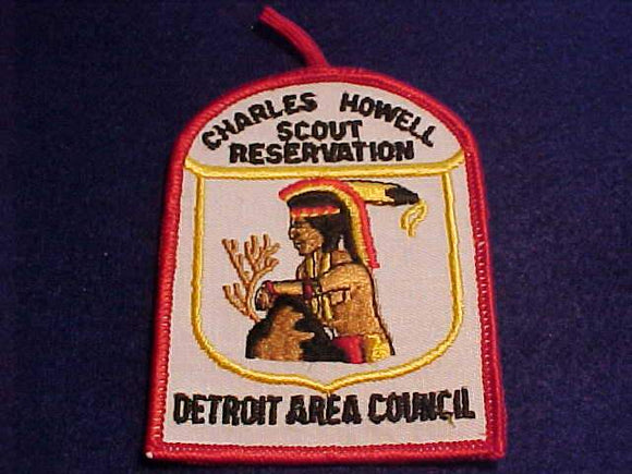CHARLES HOWELL SCOUT RESV. PATCH, DETROIT AREA C., 1970'S, WHITE TWILL W/BUTTON LOOP, MINT