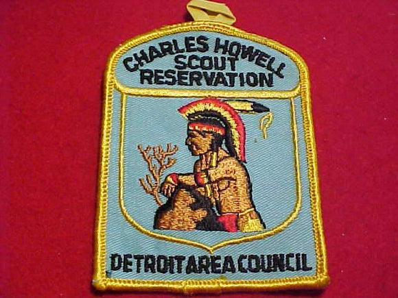 CHARLES HOWELL SCOUT RESV. PATCH, DETROIT AREA C., 1960'S, AQUA TWILL W/ BUTTON LOOP