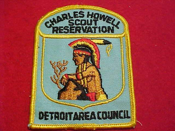 CHARLES HOWELL SCOUT RESV. PATCH, DETROIT AREA C., 1960'S, AQUA TWILL, NO BUTTON LOOP
