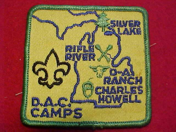DETROIT CAMPS PATCH, D-BAR-A, CHARLES HOWELL RESV., RIFLE RIVER, SILVER LAKE, 1960'S, BLUE LETTERS