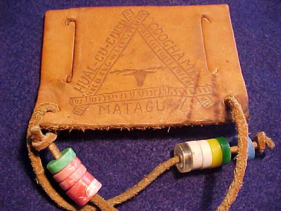 HUAL-CU-CUISH PATCH, MATAGUAY/KING CREEK CAMPS, LEATHER, 11 BEADS, USED