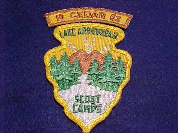 LAKE ARROWHEAD SCOUT CAMPS PATCH + 1962 CEDAR SEGMENT, USED