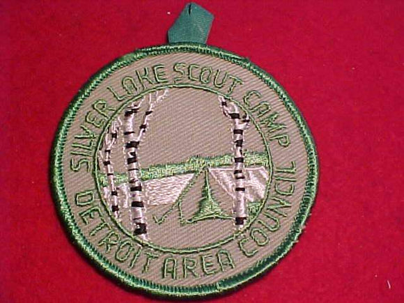 SILVER LAKE SCOUT CAMP PATCH, 1960'S, DETROIT AREA C., GREEN BDR., GRAY TWILL