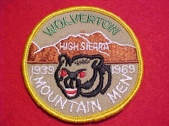 WOLVERTON PATCH, 1939-1969, MOUNTAIN MEN, HIGH SIERRA, YELLOW BDR.