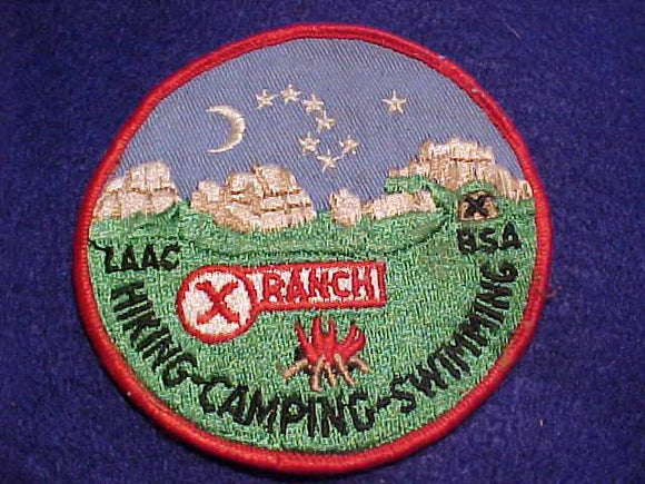 X RANCH PATCH, 1960'S, LOS ANGELES AREA C., USED