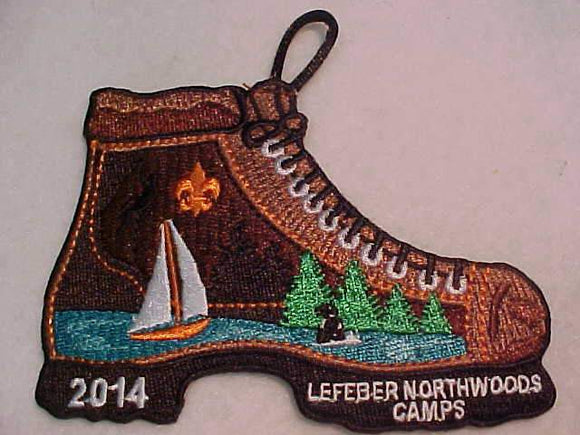 LEFEBER NORTHWOODS CAMPS PATCH, 2014, BOOT SHAPE