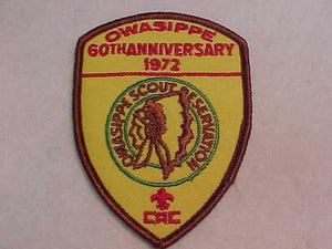 OWASIPPE SCOUT RESV. PATCH, CHICAGO AREA COUNCIL, 1972, 60TH ANNIV.