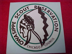 OWASIPPE SCOUT RESV. DECAL, CHICAGO COUNCIL