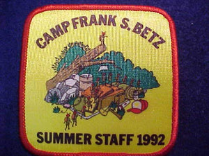 FRANK S. BETZ PATCH, SUMMER STAFF, 1992