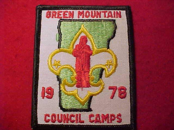 GREEN MOUNTAIN COUNCIL CAMPS PATCH, 1978