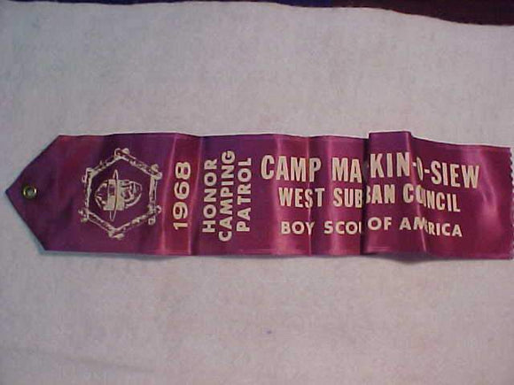 MACH-KIN-O-SIEW RIBBON, 1968 HONOR CAMPING PATROL, WEST SUBURBAN COUNCIL, PURPLE