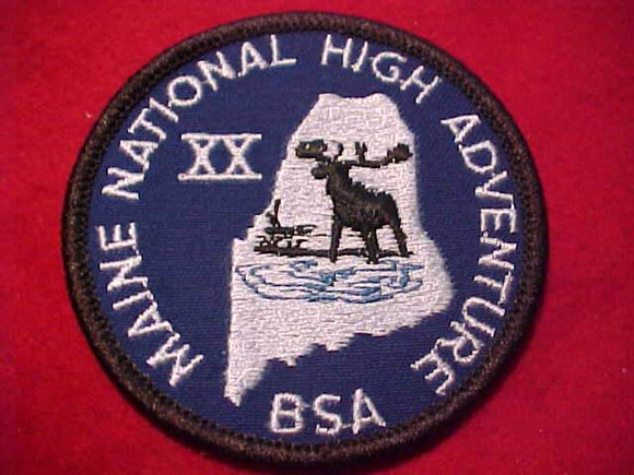 MAINE NATIONAL HIGH ADVENTURE BASE PATCH, XX (20TH ANNIV.)
