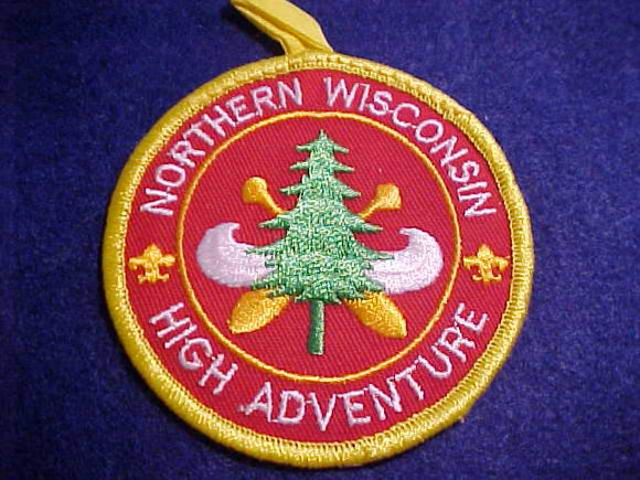 NORTHERN WISCONSIN HIGH ADVENTURE PATCH, W/ BUTTON LOOP