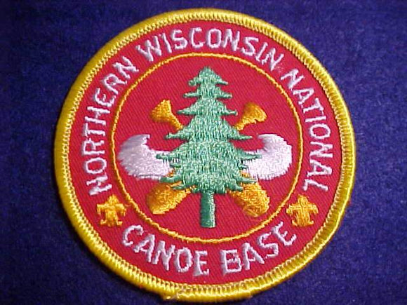 NORTHERN WISCONSIN NAT'N CANOE BASE PATCH, NO BUTTON LOOP