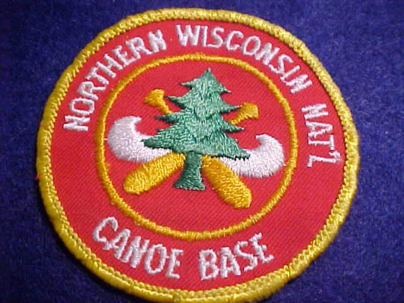 NORTHERN WISCONSIN NAT'N CANOE BASE PATCH, NO BUTTON LOOP, USED