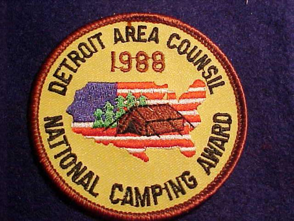 DETROIT AREA C., 1988, NATIONAL CAMPING AWARD, (ERROR ISSUE)