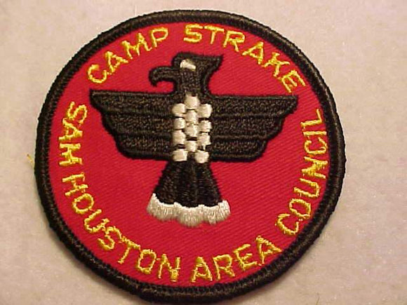 STRAKE, SAM HOUSTON AREA C., 1960'S, RED TWILL, BLK. BDR.