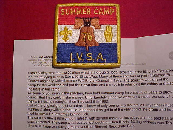 KI-SHAU-WAU (CAMP), ILLINOIS VALLEY SCOUTERS ASSOC. (I.V.S.A.) RENTED THIS CAMP FROM BSA AND THEN HAD SCOUTS ATTENDING