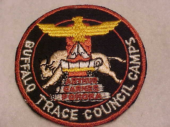 BUFFALO TRACE COUNCIL CAMPS PATCH, ARTHUR/CARNES/POHOKA, 1950'S, BROWN BDR., MINT