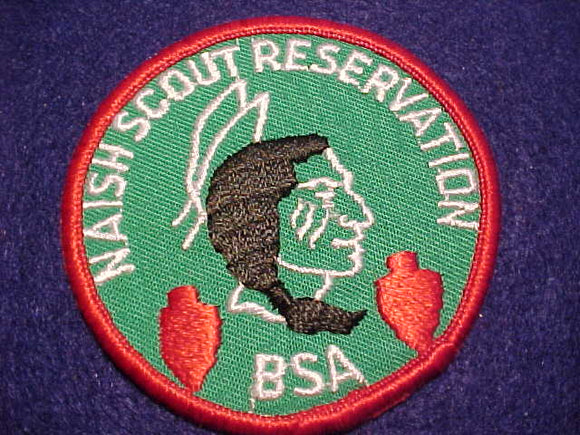 NAISH SCOUT RESV. PATCH, PLASTIC BACK, DK. GREEN TWILL