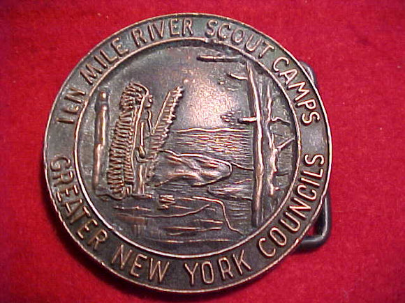 TEN MILE RIVER SCOUT CAMPS BELT BUCKLE, 1960'S, GREATER NEW YORK COUNCILS