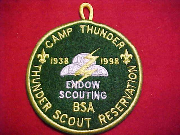 THUNDER SCOUT RESV. PATCH, 1938-1998, ENDOW SCOUTING, EMBROIDERED ON FELT