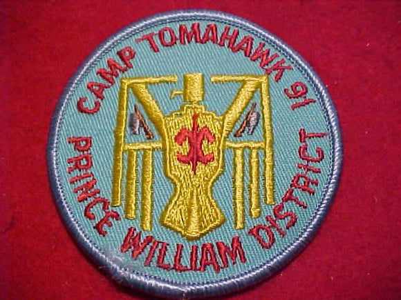 TOMAHAWK PATCH, 1991, PRINCE WILLIAM DISTRICT