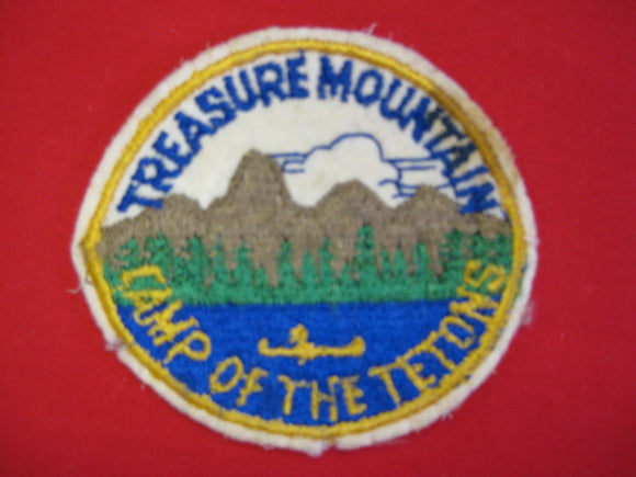 Treasure Mountain , Camp of the tetons , Embroidered on Felt , Used