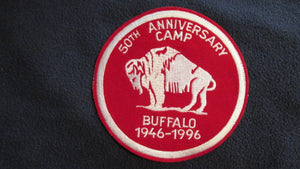 "Camp Buffalo, 1946-1996, 6"" round, embroidered on velvet"