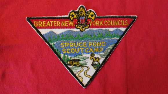 Spruce Pond Scout Camp, Greater New York Councils, neckerchief patch, 7x5, 1960's issue