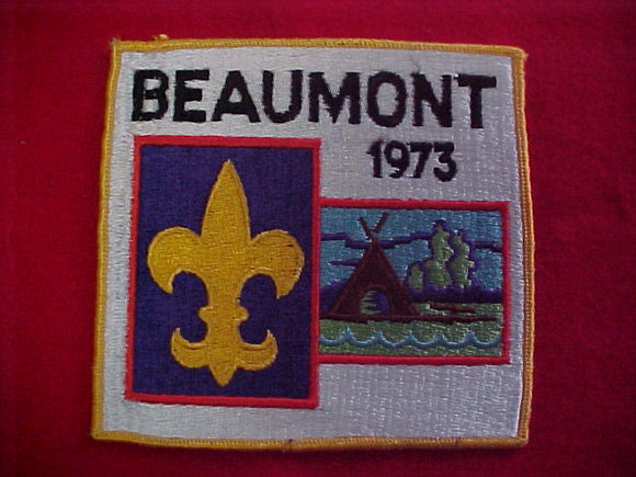 jacket patch, beaumont, 1973, 5 5/8x5 1/4
