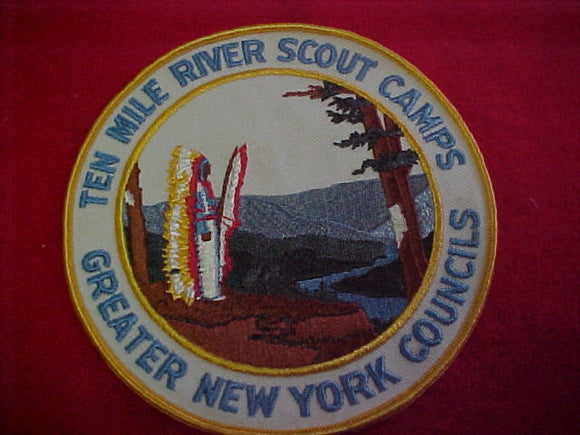 jacket patch, ten mile river scout camps, greater new york councils, 1960's, 6 round