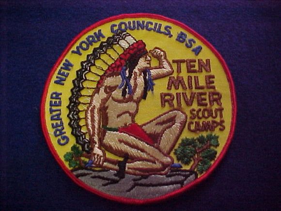 jacket patch, ten mile river scout camps, greater new york councils, 1960's, 5 round