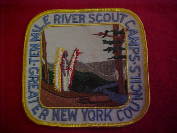 jacket patch, ten mile river scout camps, greater new york councils, 1960's, 5x5