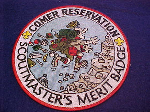 "Comer Resv., Scoutmaster's Merit Badge, 5"" jacket patch, man hiking"