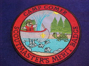 "Comer Resv., Scoutmaster's Merit Badge, 5"" jacket patch, man in boat"