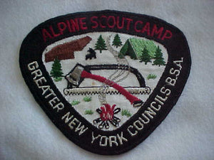 "ALPINE SCOUT CAMP JACKET PATCH, 1950'S, GREATER NEW YORK COUNCILS, 6.25X5.25"", USED"