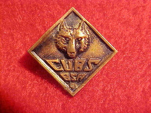 WOLF PIN,CUBS BSA,1930-46. SAFETY PIN STYLE CLASP