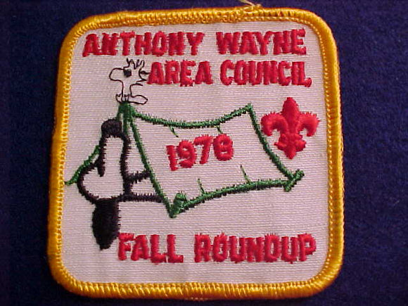 SNOOPY & WOODSTOCK PATCH, 1978, ANTHONY WAYNE A. C. FALL ROUNDUP