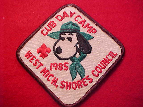 SNOOPY PATCH, 1985, WEST MICHIGAN SHORES C. CUB DAY CAMP