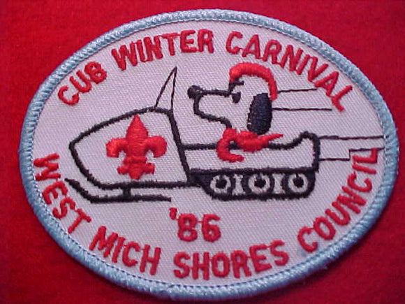 SNOOPY PATCH, 1986, WEST MICHIGAN SHORES C. CUB WINTER CARNIVAL