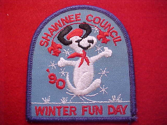 SNOOPY PATCH, 1990, SHAWNEE C. WINTER FUN DAY
