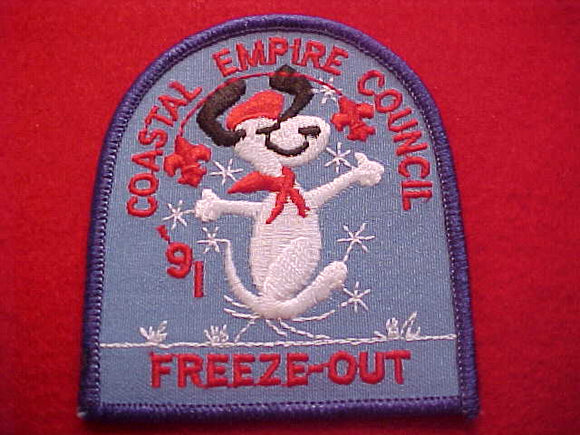 SNOOPY PATCH, 1991, COASTAL EMPORE C. FREEZE-OUT